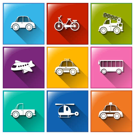 Illustration of the icons with the different transportations on a white background   Vector