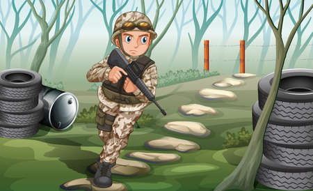 Illustration of a soldier in the jungle