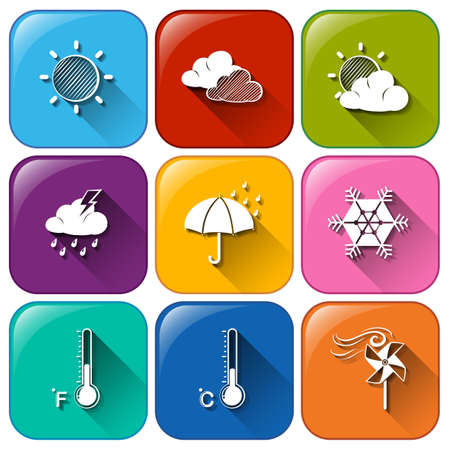 anthropological: Illustration of the icons with the different weather conditions on a white background