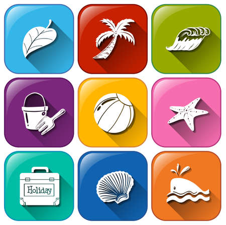Illustration of the summer icons on a white background   Vector