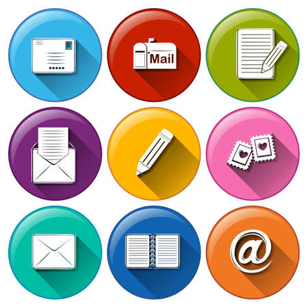 Illustration of the icons with the different mailing tools on a white background   Иллюстрация