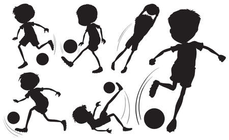contingent: Illustration of the doodle design of the soccer players on a white background