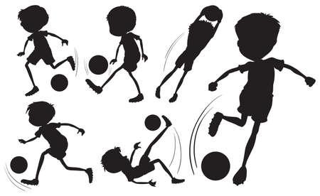 예행 연습: Illustration of the doodle design of the soccer players on a white background