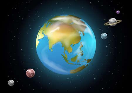 milkyway: Illustratie van de planeten van het zonnestelsel Stock Illustratie