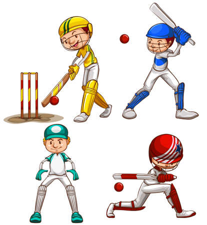 Illustration of the simple sketches of men playing cricket on a white background   Vector
