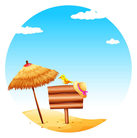 Illustration of an empty signboard at the beach on a white background   Vector