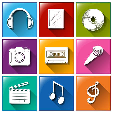 Illustration of the icons with entertainment gadgets on a white background   Vector
