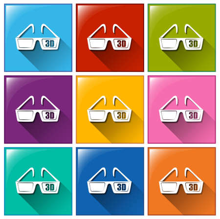 viewing angle: Illustration of the icons with movie 3D eyewear on a white background   Illustration