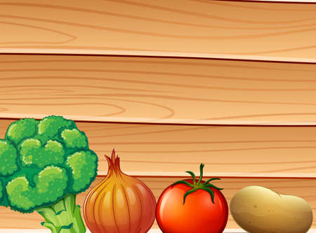 brassica: Illustration of a wooden wall at the back of the spices and vegetables