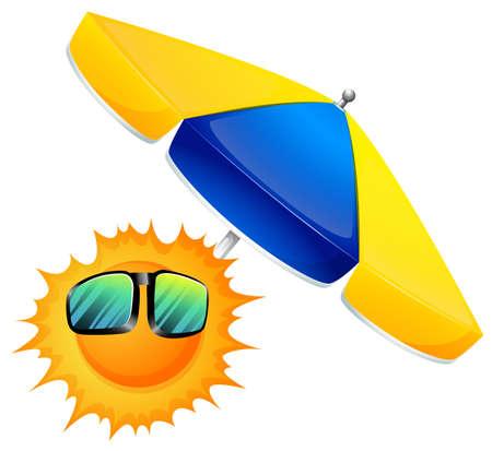 milkyway: Illustratie van een zon met een paraplu op een witte achtergrond Stock Illustratie