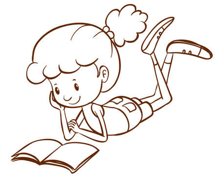 simple girl: Illustration of a simple sketch of a girl reading on a white background   Illustration