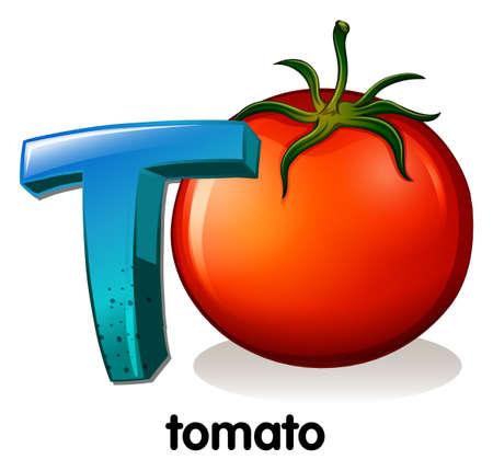 t background: Illustration of a letter T for tomato on a white background   Illustration