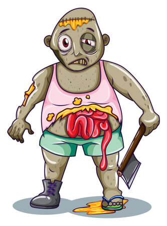 animated alien: Illustration of a zombie holding a sharp weapon on a white background   Illustration