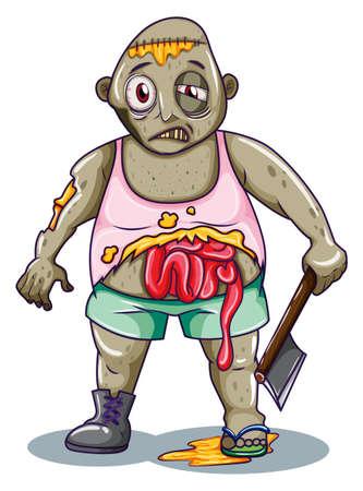carribean: Ilustraci�n de un zombi que sostiene un arma blanca sobre un fondo blanco