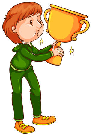 contingent: Illustration of a coloured sketch of a winner with a trophy on a white background   Illustration