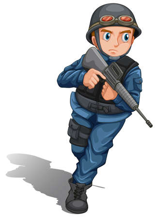 Illustration of a brave soldier with a gun on a white background   Vector