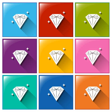 Illustration of the icons with sparkling diamonds on a white background   Vector