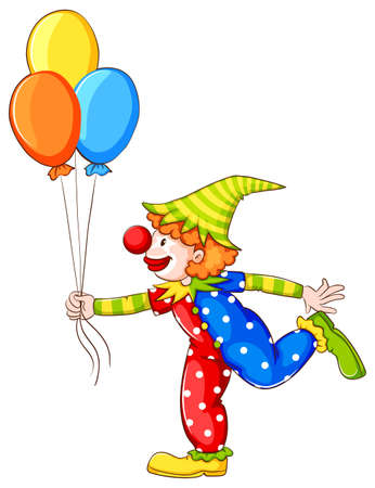 Illustration of the simple coloured sketch of a clown on a white background   Vector