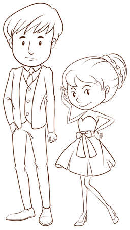 Illustration of a simple sketch of a couple in formal attire on a white background   Illustration