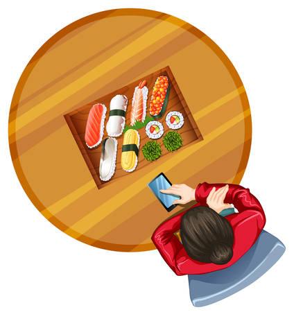 reis gekocht: Illustration einer Draufsicht von einem M�dchen am Tisch mit Sushi auf einem wei�en Hintergrund