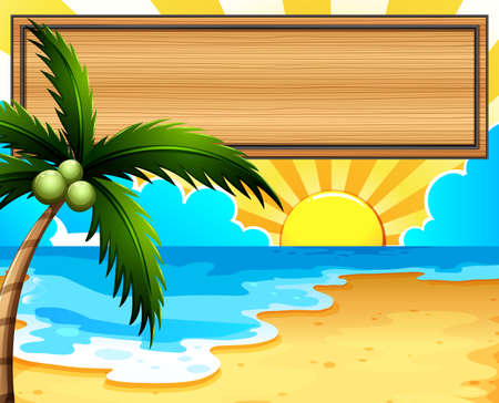 sunny beach: Illustration of an empty signboard at the beach with a coconut tree