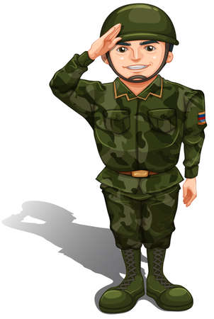 Illustration of a smiling soldier doing a hand salute on a white background