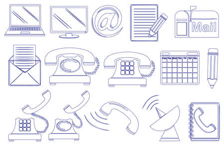 Illustratie van de doodle ontwerpen van de verschillende hulpmiddelen voor de communicatie op een witte achtergrond