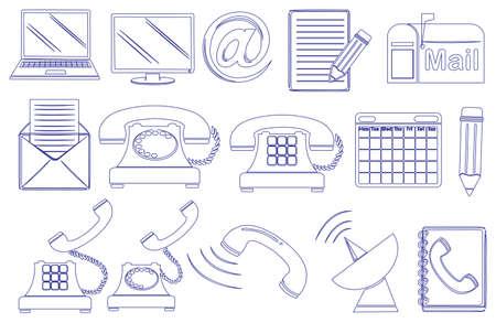 Illustration de la conception de griffonnage des différents outils de communication sur un fond blanc