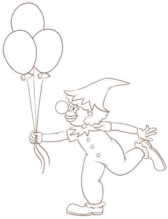 occassion: Illustration of a simple sketch of a clown on a white background  Illustration