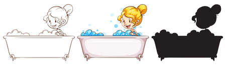 personal grooming: Illustration of the sketches of a young lady at the bathtub on a white background