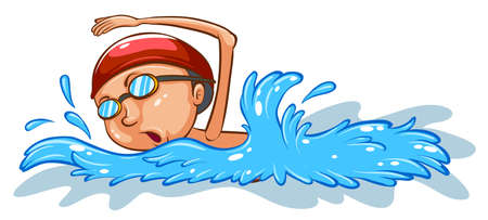 Illustration of a simple coloured sketch of a boy swimming on a white background
