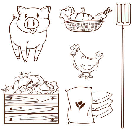 fertilizer: Illustration of a simple sketch of the farm animals and the harvested vegetables on a white background