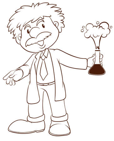 assays: Illustration of a simple sketch of a scientist on a white background