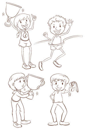 contestant: Illustration of the sketches of the different winners on a white background  Illustration