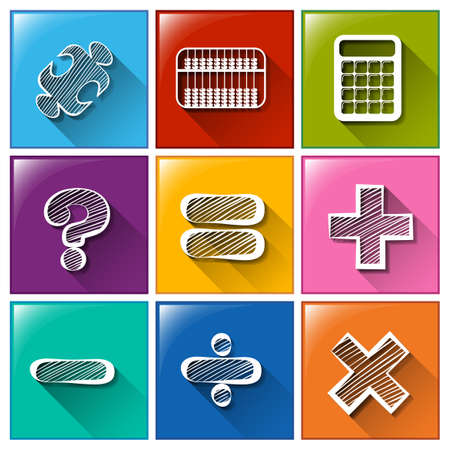mathematical: Illustration of the buttons with the different mathematical operations on a white background