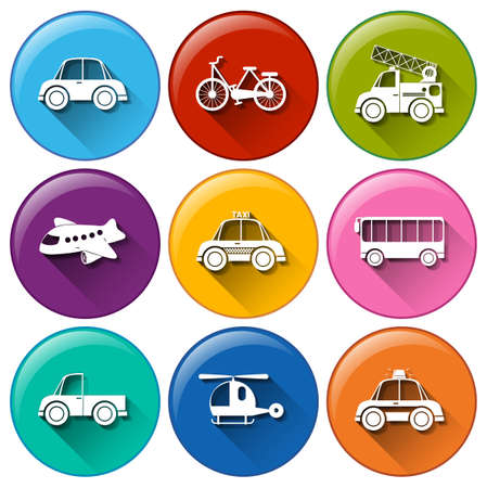 Illustration of the round buttons with the different transportations on a white background  Vector