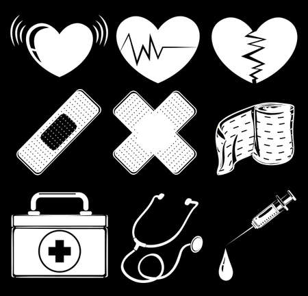 auscultation: Illusration of the different medical instruments on a black background Illustration