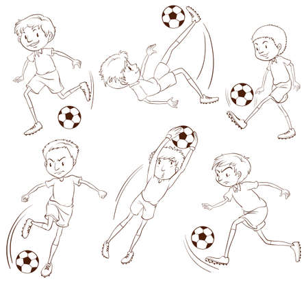Illustration of the simple sketch of the soccer players on a white background