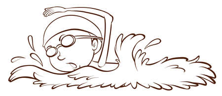 contestant: Illustration of a simple sketch of a boy swimming on a white background  Illustration