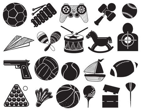 Illustration of the doodle design of the different toys on a white background  Vector