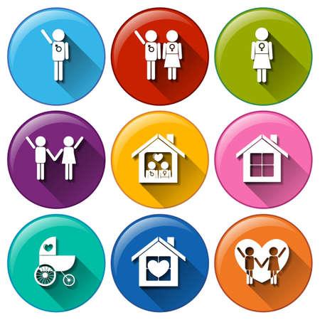 planificación familiar: Ilustración de los botones redondos para la planificación familiar sobre un fondo blanco
