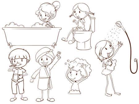 흰색 배경에 목욕하는 사람들의 간단한 스케치의 그림