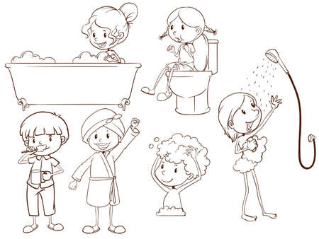 brushing: Illustration of the simple sketches of the people taking a bath on a white background