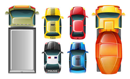 Illustratie van een bovenaanzicht van de geparkeerde voertuigen op een witte achtergrond