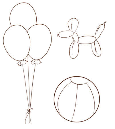 Illustration of the simple sketches of the balloons and a ball on a white background
