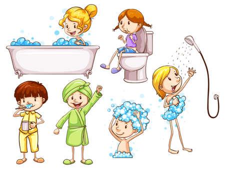 aseo personal: Ilustración de los bocetos de colores simples de las personas que toman un baño en un fondo blanco
