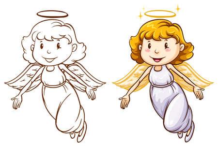 흰색 배경에 다른 색상 천사의 스케치 그림