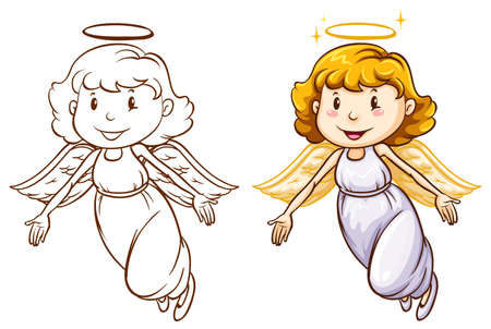 Illustration of the sketches of angels in different colors on a white background  Çizim