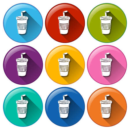 sip: Illustration of the round buttons with disposable cups on a white background  Illustration