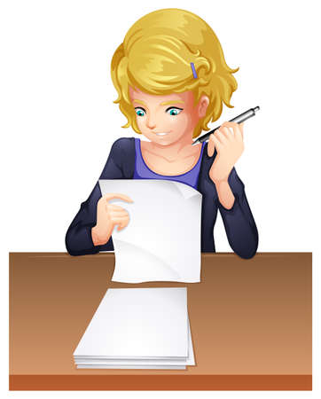 smart girl: Illustration of a woman taking an exam on a white background  Illustration